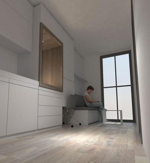 קטן אבל מספיק. יותר טוב ממחסן או חדר ארונות שהוסב לדירה  (הדמיה: אור שטרית, רחלי קשי, איה גרייב)