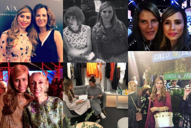 """מביאה את האופנה הישראלית לעולם: מימין למעלה - עם אנה דה לה רוסו, עורכת ווג יפן, עם אנה ווינטור, עורכת ווג ארה""""ב, עם רוברטה ארמאני. מימין למטה: בתצוגה של DOLGE GABBANA בשבוע האופנה במילאנו, עם מנכ""""לית COS ישראל, זיו קווין, עם פרנקה סוזאנה, עורכת ווג איטליה"""