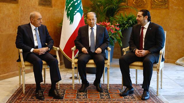 L-R: Parliament Speaker Nabih Berri, President Michel Aoun and Prime Minister Saad Hariri (Photo: Reuters)
