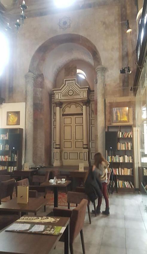 קפוצ'ינו ליד ארון הקודש (צילום: מאיר דודסון)