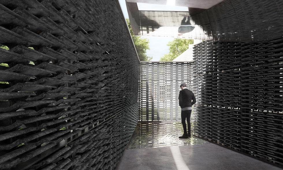 """הביתן של אסקובדו. הקירות מורכבים מאריחי בטון כהים המותירים מרווחים למבט החוצה אל הגנים הירוקים. """"חלל הפנים המרשים שעיצבה אסקובדו מגדיר מחדש את משמעותו של החלל הציבורי"""", כתבו אוצר הביתן והמנהלת שלו   (עיצוב: Frida Escobedo, הדמיה: Atmósfera)"""