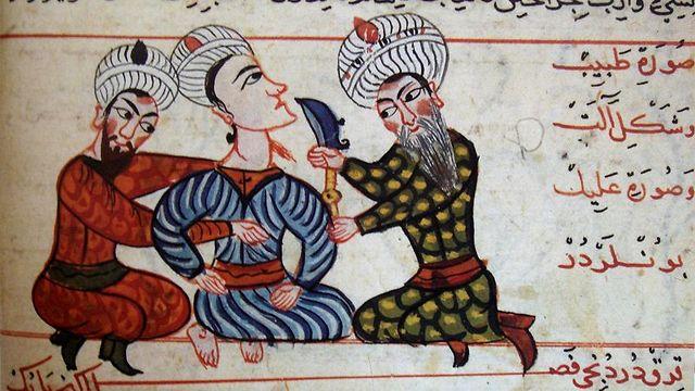 ידע בתחומים רבים. רופא לומד לבצע פעולה כירורגית. איור מתוך כתב יד טורקי מהמאה ה-15  (צילום: מתוך ויקיפדיה) (צילום: מתוך ויקיפדיה)