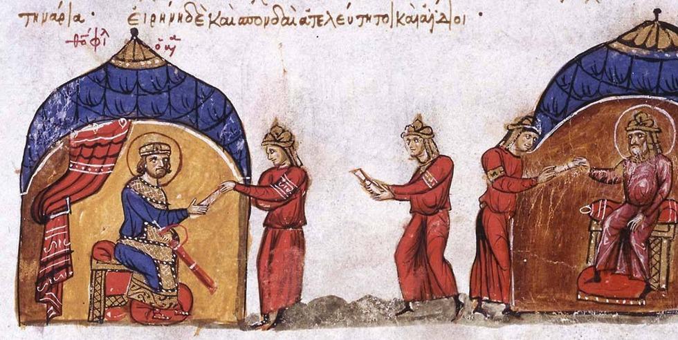 החלפת ידע. החליף אל מאמון שולח שליח אל הקיסר הביזנטי תיאופילוס, ציור מהמאה ה-13 (צילום: מתוך ויקיפדיה) (צילום: מתוך ויקיפדיה)
