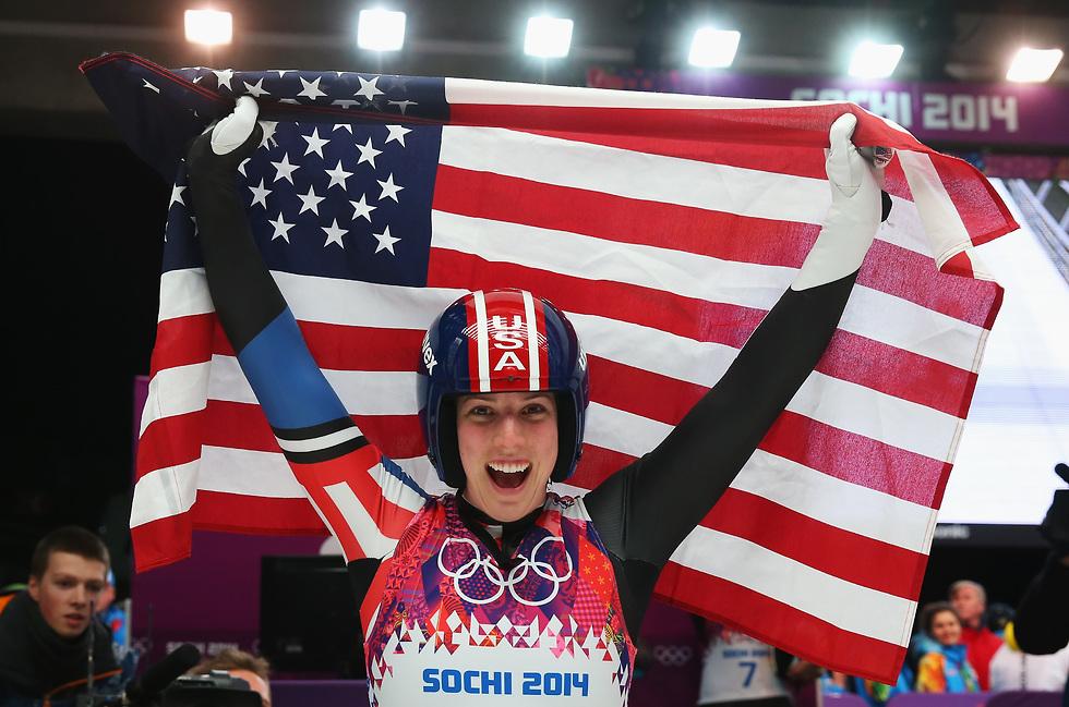 תישא את הדגל גם בטקס הפתיחה. האמלין חוגגת בסוצ'י (צילום: getty images)