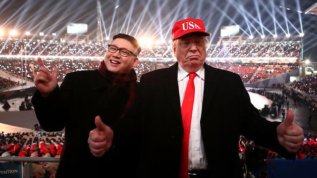 """""""מסתדרים מצוין יחד"""". טראמפ וקים - גרסת החקיינים (צילום: gettyimages)"""