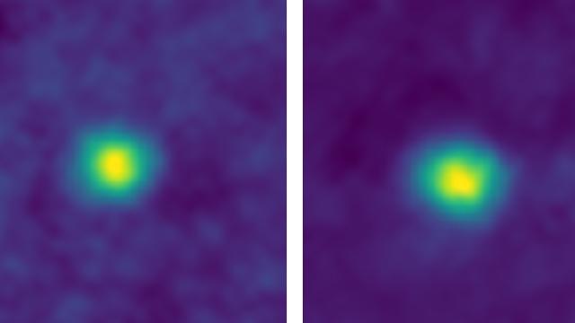 """שני העצמים שצולמו בחגורת קויפר (צילום: נאס""""א) (צילום: נאס"""