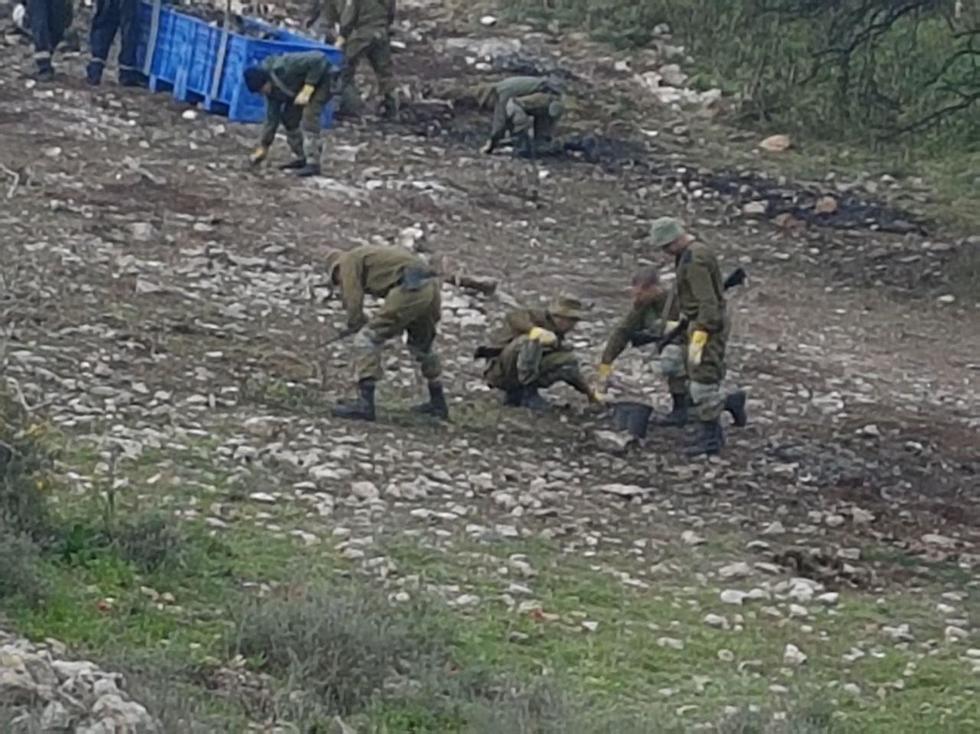 """איסוף שברי המטוס ליד קיבוץ הרדוף (צילום: אחיה ראב""""ד)"""