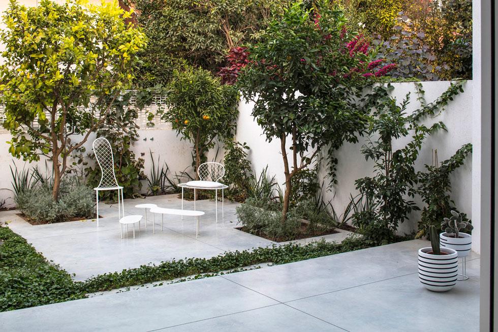 בקצה החצר יש אי קטן מבטון מוחלק, ועליו פינת קפה אינטימית. ההצבה של אי הבטון בגן, השילוב עם הצמחייה וריהוט הברזל האמורפי, מזכירים את רישומיו היפים של האדריכל היפני Junya Ishigami  (צילום: עמית גירון)