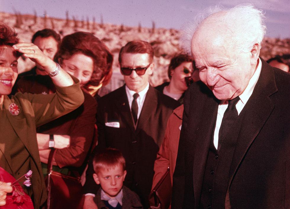 """דוד בן גוריון בחגיגות ט""""ו בשבט בירושלים, 1963. """"ענייני ההגשמה הציונית הם קודמים לכל דבר אחר"""" (צילום: דוד רובינגר)"""