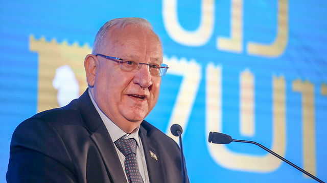Rivlin at the B'Sheva weekly's Jerusalem Conference  (Photo: Hillel Meir/TPS)
