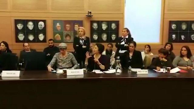 MK Zoabi (center) before being removed by ushers from the Education Committee meeting