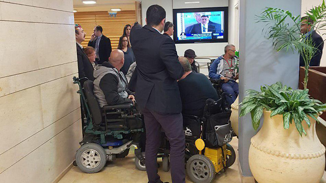 The disabled barricaded in the Knesset (Photo: Disabled Panthers)