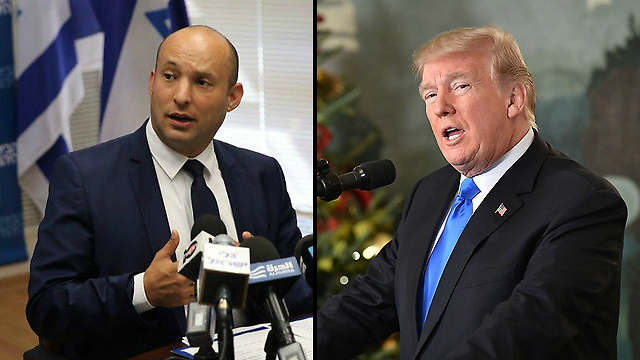 Education Minister Bennett (L) said not annexing the West Bank under the Trump administration would be considered a failure (Photo: Motti Kimchi, AFP)