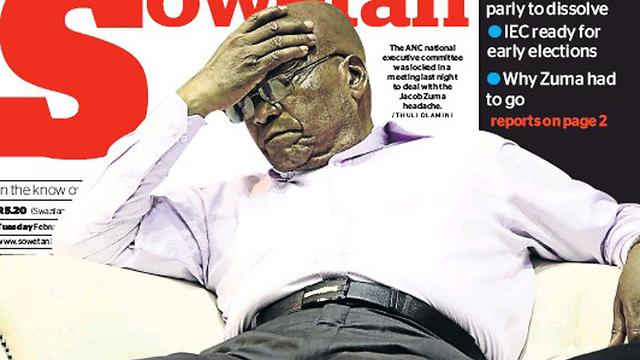סיים את תפקידו? נשיא דרום אפריקה ג'ייקוב זומה בשער העיתון Sowetan  ()