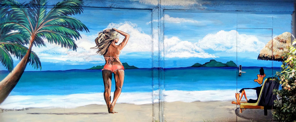 """ציור קיר שלה. """"זו זכות לגרום לאנשים לחייך כשהם רואים יצירות שלי"""" (ציור: כרמל בומרד)"""