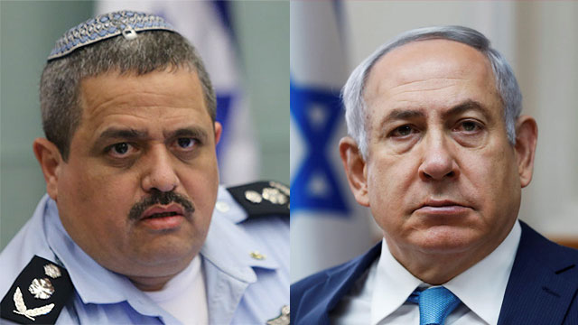 Police Commissioner Roni Alsheikh and PM Netanyahu (Photos: Reuters, Alex Kolomoisky)