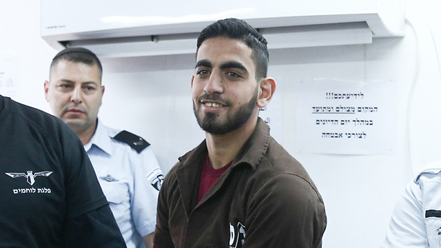 Terrorist Omar al-Abed in court (Photo: Ohad Zwigenberg)
