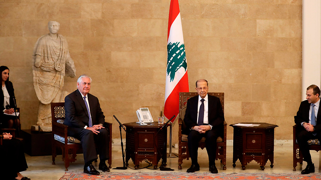 Sect. of State Tillerson with Lebanese President, FM (Photo: AFP)