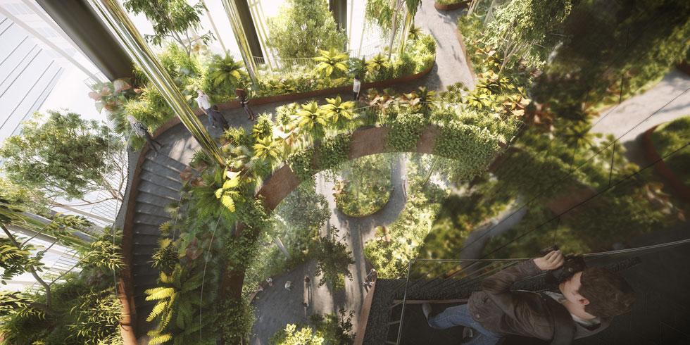 בהתאם לטרנד הנוכחי, המגדל כולל פטיואים פנימיים וחיצוניים לגידול עצים. ''זה נראה כמו בית כלא לעצים'', הגיב אחד הגולשים (הדמיה: באדיבות Big bjarke ingels group original)