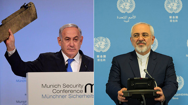 PM Netanyahu (L) and Iranian FM Zarif traded pointed words over Iran's involvement in the Middle East (Photo: Amos Ben Gershom/GPO, EPA)