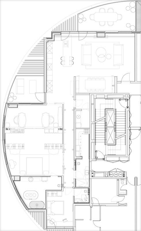 תוכנית הדירה. דלת הכניסה למעלה מימין (תוכנית: גרשון צור ואלדד מיטלמן)