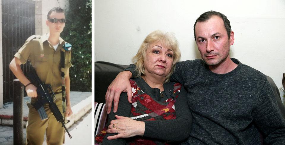 Данил Ниязов во время службы в армии (слева) и с мамой Анжеликой. Фото: Ярив Кац и из семейного архива