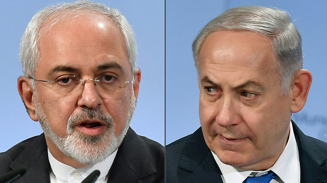 Iran's Minister of Foreign Affairs‏ Mohammad Zarif and PM Netanyahu (Photo: AFP)
