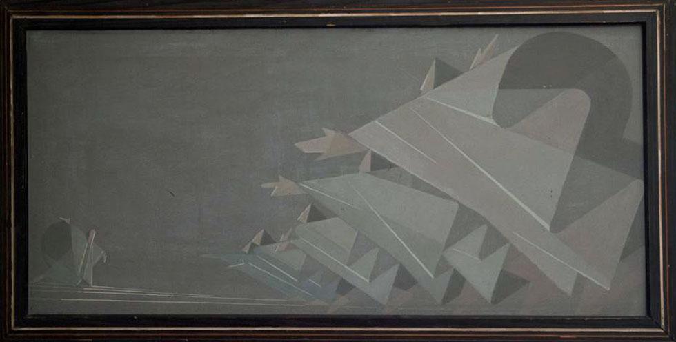 זהו הציור שהתנוסס במבואת ''בית המלין''. שלום סבא היה מבכירי האמנים שפעלו בישראל במשך שני עשורים