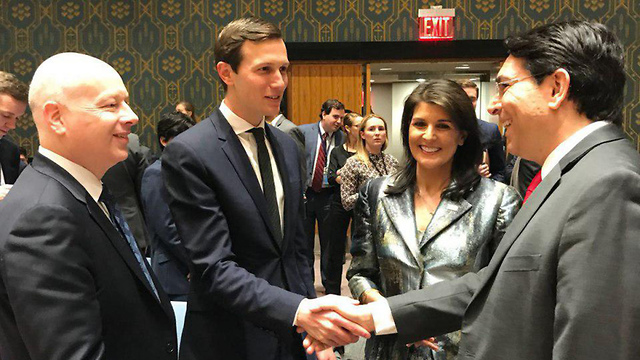 Members of Trump's peace team, Jason Greenblatt and Jared Kushner, with US Ambassador to the UN Nikki Haley and Israeli Ambassador to the UN Danny Danon
