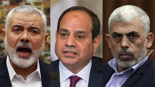L-R: Ismail Haniyeh of Hamas, Egypt's President Sisi and Hamas leader Yahya Sinwar  (Photo: Reuters, AP)