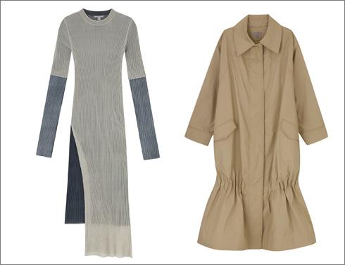 מעיל טרנץ', 700 שקל; שמלת סריג, 495 שקל