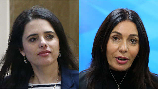 Justice Minister Shaked (L) and Culture and Sports Minister Regev (Photo: Alex Kolomoisky, Ohad Zwigenberg)