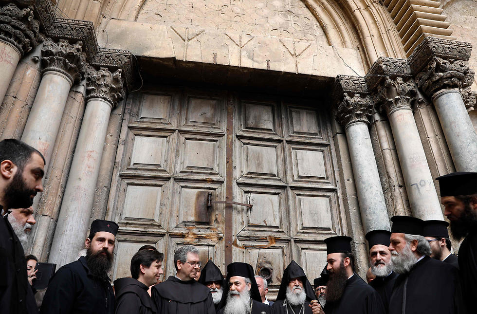 Church leaders outside the Church of the Holy Sepulchre. 'A systematic campaign against the churches and the Christian community'  (Photo: AFP)