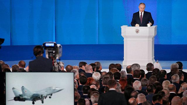 """נשיא רוסיה פוטין ב""""נאום הטילים"""" בתחילת החודש (צילום: EPA) (צילום: EPA)"""