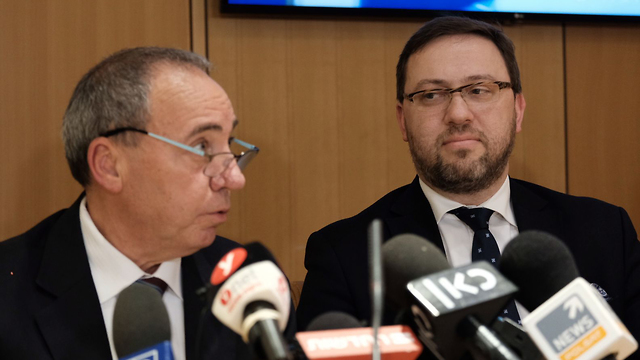 Director-General of the Foreign Affairs Ministry Yuval Rotem (L) and Polish Deputy Foreign Minister Bartosz Cichocki (Photo: Yoav Dudkevitch)