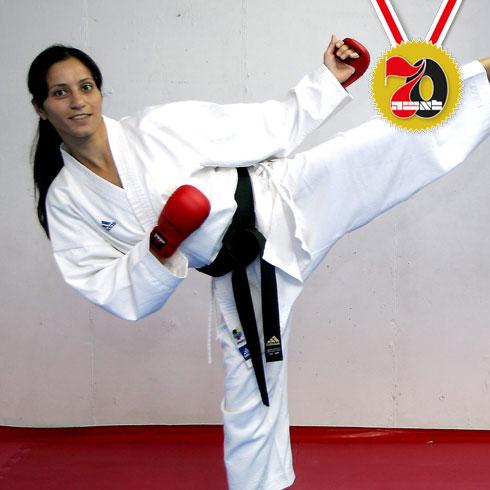 לוריס עפארה. לוחמת הקראטה בעלת הכי הרבה מדליות ותארים (צילום: גיל נחושתן)