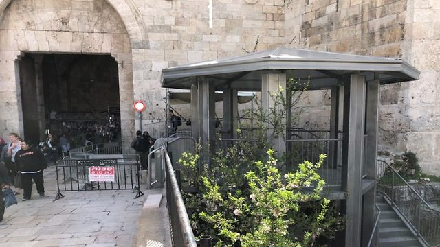 New Border Police guard tower erected outside Damascus Gate (Photo: The Media Line)