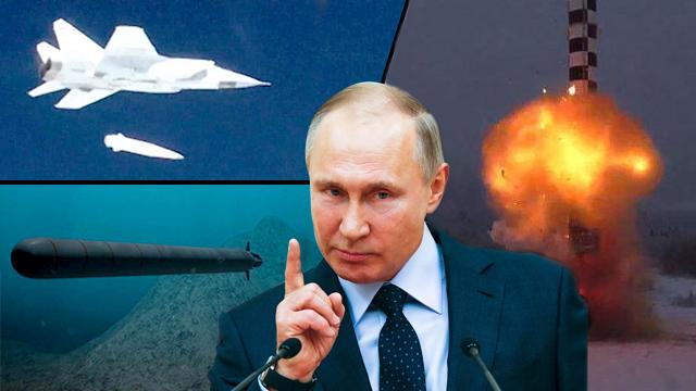 הטיל הבליסטי, הצוללת הלא מאוישת והטיל קינז'אל. רק חלק מהארסנל של פוטין ()