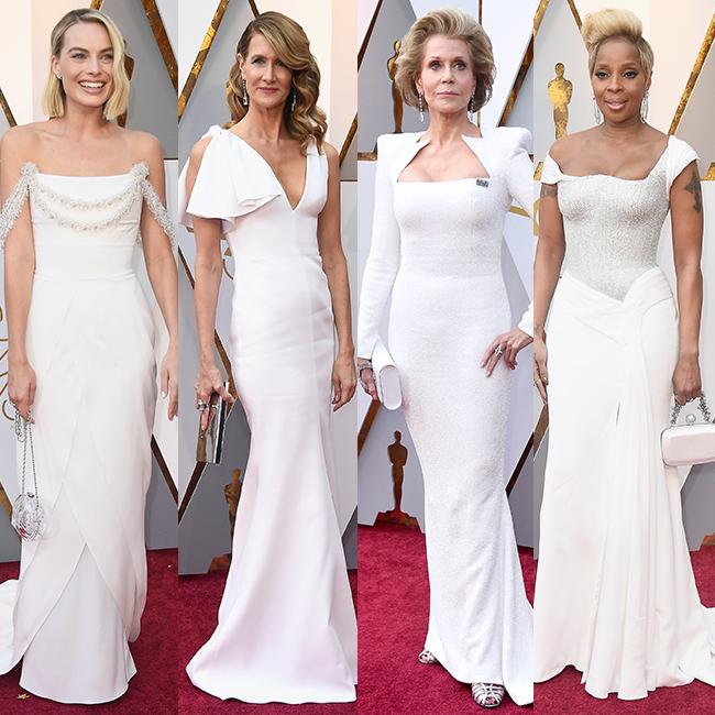 מארי ג'יי בלייג', ג'יין פונדה, לורה דרן ומרגו רובי לובשות לבן (gettyimages)