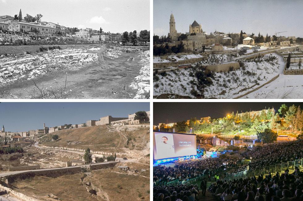 """תקופות שונות בחייה של בריכת הסולטן, חלק ממערך אמות המים העתיקות של ירושלים. ''עשו שם דברים נוראיים'', אומר אדריכל הקרן לירושלים על המתרחש בבריכת הסולטן בעשורים האחרונים. ''די נורא להיות שם'' (צילום: חנניה הרמן לע""""מ, סימור קטקוף לע""""מ, דוד רובינר, אוהד צויגנברג)"""