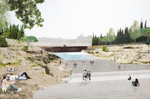 מקווה מים מתחת לסכר המקורי, בהצעה של מנצורי-וולמה ון דר מולן (הדמיה: ון דר מולן אדריכלים)
