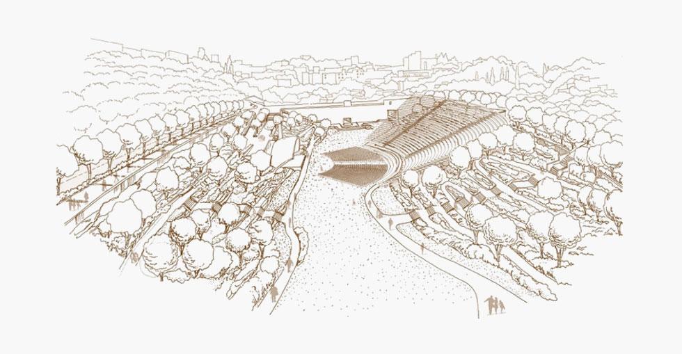 ''מנעד'', שהגיעו למקום השני בתחרות, הציעו לחצוב את הבמה בקירות הסלע הסמוכים לחומות, ולקרות את הבמה בקונכייה אקוסטית (תכנית: מנעד תכנון נוף)
