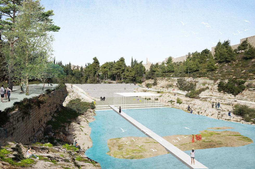 באחת ההצעות המפסידות, של ון דר מולן אדריכלים, הוצע מקווה מים מתחת לסכר המקורי, כשמדרגות הישיבות ממוקמות בהיפוך למצבן הנוכחי (הדמיה: ון דר מולן אדריכלים)