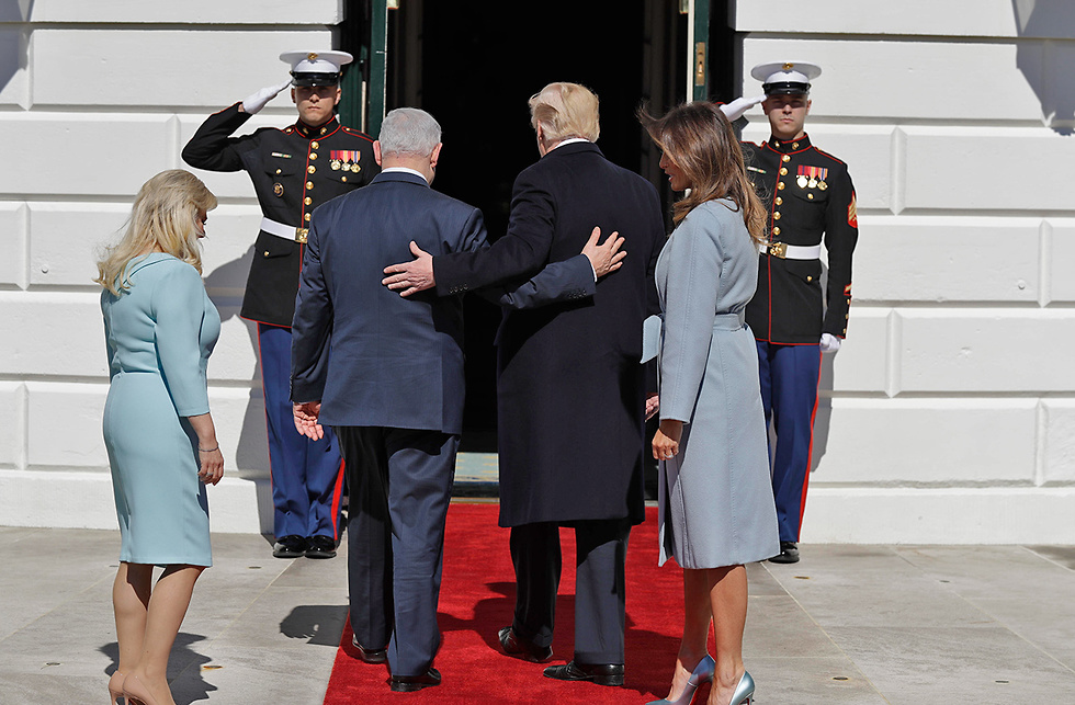 Prime Minister Netanyahu and his wife Sara warmly greeted by President Trump and First Lady Melania on a visit to the White House (Photo: AP)