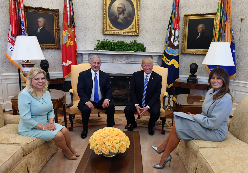 Melania and Donald Trump with Sara and Benjamin Netanyahu at the White House, Monday  (Photo: Haim Zach/GPO)