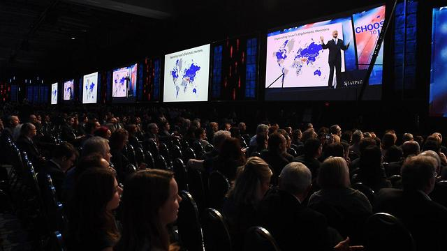 """נתניהו מציג את מפת ההתעצמות האיראנית בוועידת איפא""""ק (צילום: חיים צח לע""""מ) (צילום: חיים צח לע"""