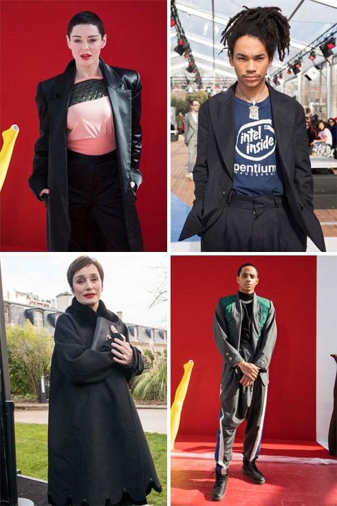 בשורות הראשונות בפריז: רוז מקגוון, לוקה סאבת', קורדל ברודוס וקריסטין סקוט תומאס (צילום: AP)