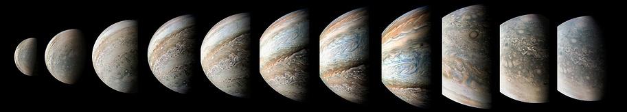 """מסביב לצדק ב-95 דקות: המצלמה של ג'ונו מתעדת את השתנות פני השטח של כוכב הלכת בעודה מקיפה אותו מהקוטב הצפוני (תצלום ראשון מימין) ועד הקוטב הדרומי (אחרון משמאל)  (צילום: נאס""""א)"""