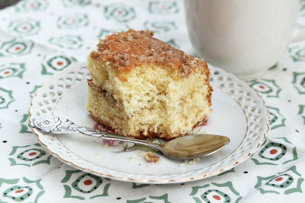 עוגת וניל עם פירורים בטעם קינמון (צילום: מיכל שמיר)