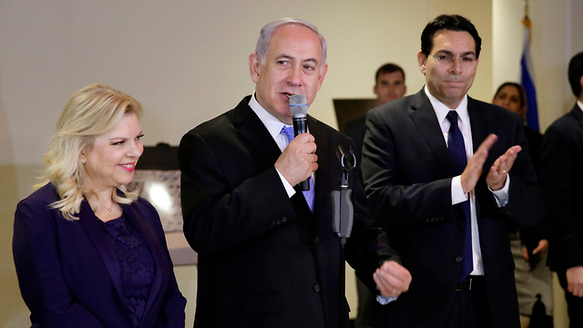 Prime Minister Netanyahu, center, with his wife Sara, left, and Israeli Ambassador Danny Danon (Photo: AP)